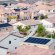 View Neighborhood with Solar Panels - Stock Photo