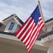Abstract House Facade and American Flag — Stock Photo