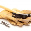 Hammer, Gloves and Nails Isolated — Stock Photo