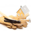 Hammer, Gloves, Nails and House Isolated — Stock Photo