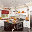 Custom Kitchen Interior With Fall Decor - Stock Photo