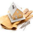 House, Gloves and Nails on White — Stock Photo