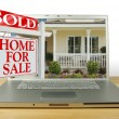 Sold Home For Sale Sign on Laptop — Stock Photo #2359032
