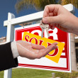 Royalty-Free Stock Photo: Agent Handing Over the Keys to New Home