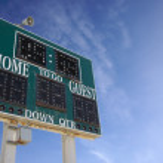 HIgh School Score Board Over Sky — Stock Photo
