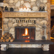 Stock Photo: Rustic Fireplace in Log Cabin