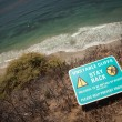 Stay Back Warning Sign On Cliff Edge Near Ocean. - Stock Photo