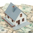 Royalty-Free Stock Photo: Model Home and Stack of Money on White