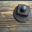 Antique Rusty Bolt, Washer and Wood with Narrow — Stock Photo