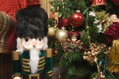 Nutcracker and Holiday Decorations — Stock Photo