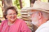 Loving Senior Couple Enjoying the Outdoors Toget — Stock Photo