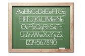 Chalkboard with Letters and Numbers Isolated — Stock Photo