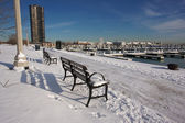 Empty Snowy Bench in Chicago — Stock Photo