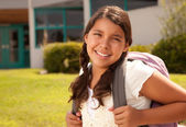 Teen Hispanic Student with Backpack — Stock Photo