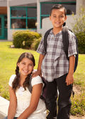 Hispanic Brother and Sister at School — Stock Photo