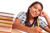Smiling Hispanic Girl Studying — Stock Photo