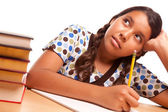 Hispanic Girl Studying & Daydreaming — Stock Photo