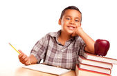 Little Hispanic Boy, Books, & Apple — Stock Photo