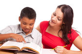 Hispanic Mother and Son Studying — Stock Photo