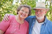 Loving Senior Couple Enjoying the Outdoors Together — Stock Photo