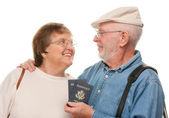 Happy Senior Couple with Passports — Stock Photo