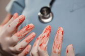 Doctors Bloody Surgical Gloves, Scrubs, Stethoscope — Fotografia Stock