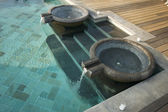 Exotic Pool Fountains, Tiled Pool and Steps — Stock Photo