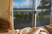 Tropical Oceanfront View from Bed — Stock Photo