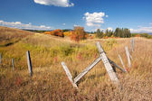 Beautiful Fall Landscape with Rustic Fence — Stock Photo