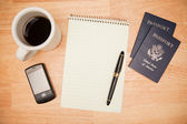 Pad, Pen, Passports, Coffee and Phone — Stock Photo