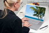 Woman In Kitchen Using Laptop to Research Travel with Palm Trees on Screen — Stock Photo