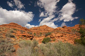 Red Rocks of Utah with Dramatic Cloudy Blue Sky — Stock Photo