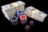 Hundred Dollar Bills, Dice, Poker Chips — Stockfoto