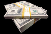 Hundred Dollar Bills On Black — Stock Photo