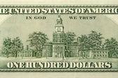 One Hundred Dollar Bill Back Side — Stock Photo