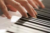 Female Fingers on Digital Piano Keys — Stock Photo
