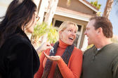 Real Estate Agent Handing Over Keys — Stock Photo