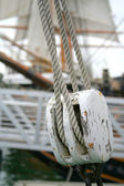 Abstract Boat Rope and Pulley Detail — Stock Photo