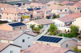 View Neighborhood with Solar Panels — Stock Photo