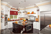 Custom Kitchen Interior With Fall Decor — Stock Photo