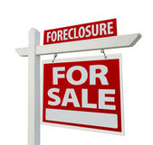 Foreclosure Home For Sale Sign on White — Stock Photo