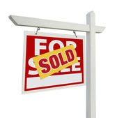 Sold Home For Sale Real Estate Sign — Stock Photo