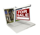 Red For Sale Real Estate Sign on Laptop — Stock Photo