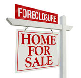 Foreclosure Real Estate Sign on White — Stock Photo