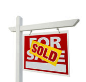 Sold Real Estate Sign on White — Stock Photo