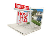 Foreclosure For Sale Sign on Laptop — Stock Photo