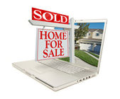 Sold Home for Sale Sign On Laptop — Stock Photo