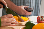 Woman Slicing Vegetables, Cutting Board — Stock Photo