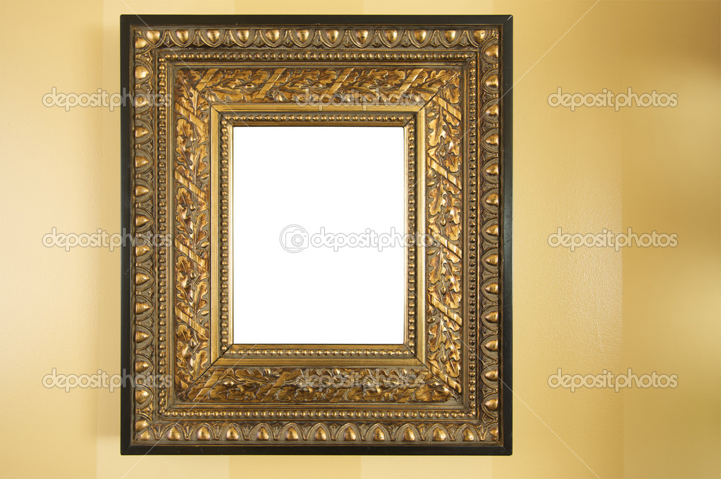 Ornate Blank Picture Frame on Yellow Wall. — Stock Photo #2351233