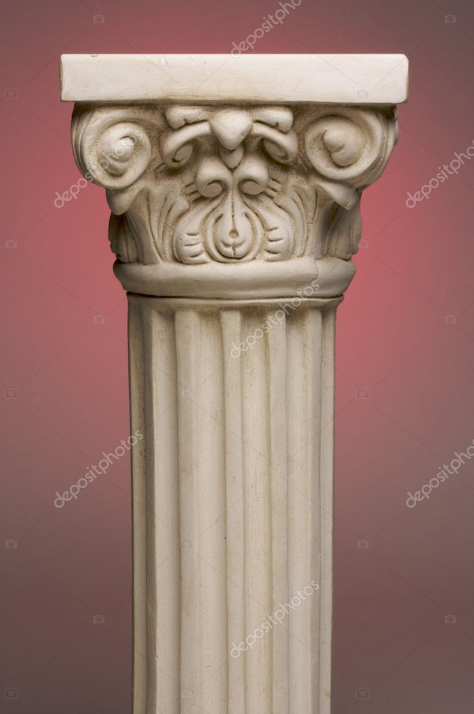 Ancient Column Pillar Replica on a Red Gradation Background. — Foto Stock #2351617